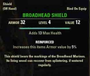 Quest item reward Broadhead Shield.