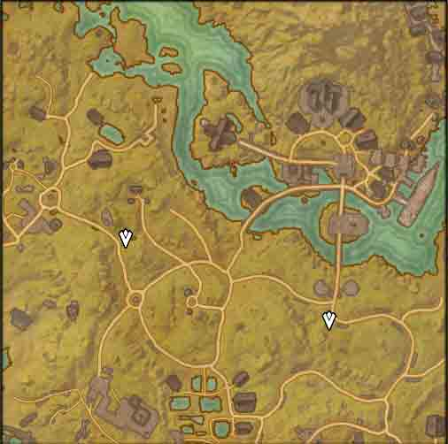 Map image of starting point to quest Dark Knowledge.