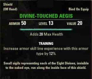 TESO quest reward Divine Touched Aegis.