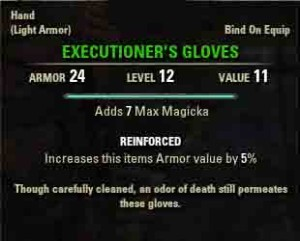 The Elder Scrolls Online quest reward Executioners gloves