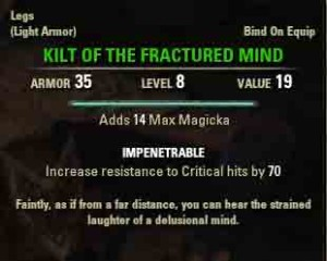 Depths of Madness quest reward item Kilt of the Fractured Mind.