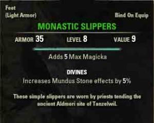 Elder Scrolls Online quest reward Monastic Slippers.