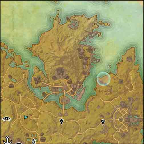 Map image of the starting poin to the quest Moon-Sugar Medicament.