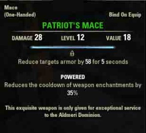 TESO the Veiled Choice reward item Patriots Mace