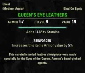 The Elder Scrolls Online reward for The Unveiling Queens Eye Leathers