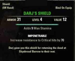 The Elder Scrolls Online What Waits Beneath reward Darjs Shield