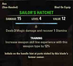 The Elder Scrolls Online Unaccounted Crew quest reward Sailors Hatchet
