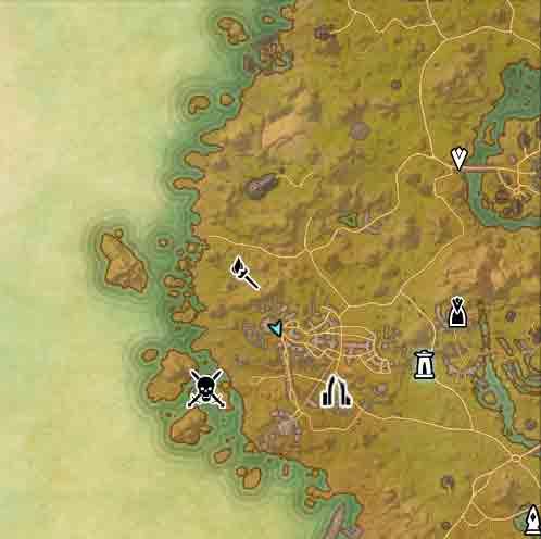 The Elder Scrolls Online map view of quest To Mathiisen